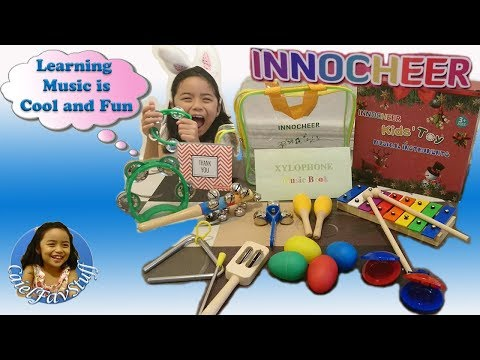 Innocheer Musical Instrument Set Xylophone, Maracas, Music Book, Rainbow Bell, Triangle and more