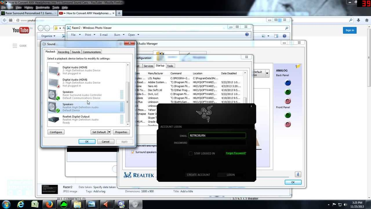 How to Disable Razer Surround 7.1 Software (\