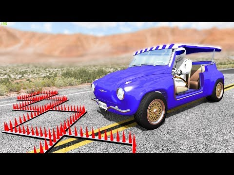 SPIKE STRIP HIGH SPEED CRASHES #37 - BeamNG Drive | CRASHdriven