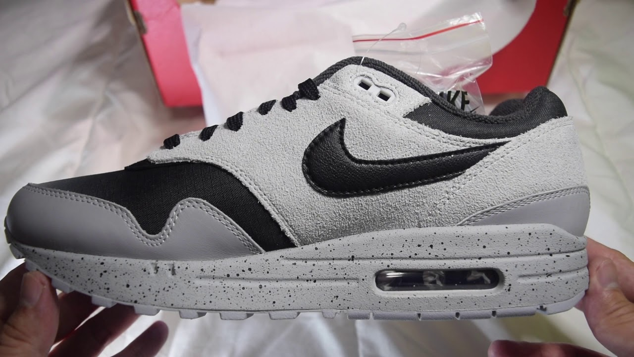 d3685213fef493 Nike Air Max 1 Premium  Gradient Toe  (Pure Platinum Black-Wolf Grey)  Unboxing
