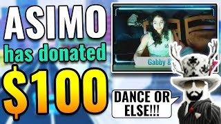 ASIMO3089 DONATING MONEY TO JAILBREAK STREAMERS! DANCE OR GET BANNED! | Roblox Jailbreak Asimo Prank