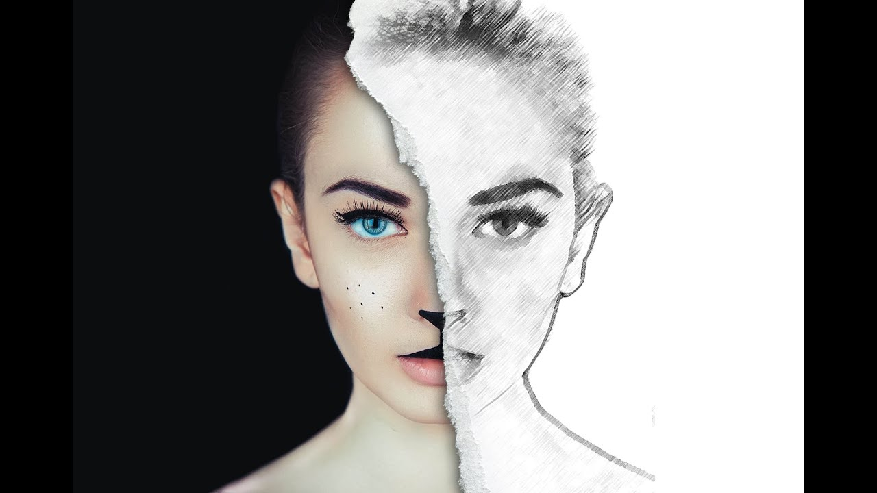Half sketch effect photoshop tutorial