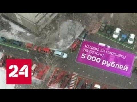 Москвичей отучают парковаться на газонах с помощью мобильного приложения - Россия 24