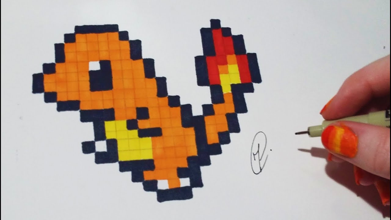 Pixel Art Pokemon Charmander Easy