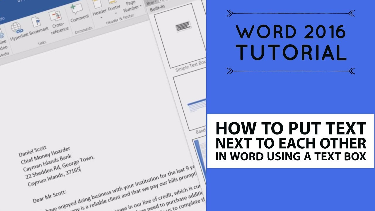 how to put text next to each other in word using a text box word