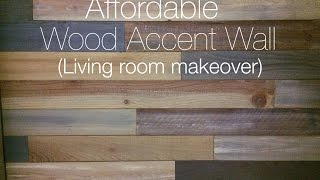 Living Room Makeover with Wood Accent Wall
