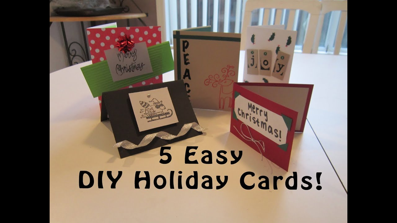 5 Easy DIY Homemade Holiday Cards! (Last Minute Holiday Gift Idea ...