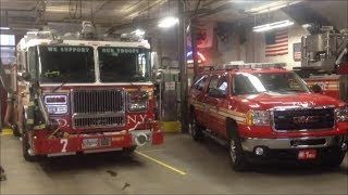 FDNY Engine 7, Tower Ladder 1 & Battalion Chief 1 In House Visit