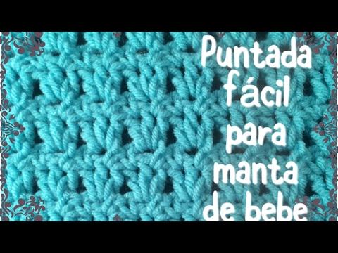 Puntada f cil y r pida para manta de bebe en gancho para - Manta de crochet facil ...