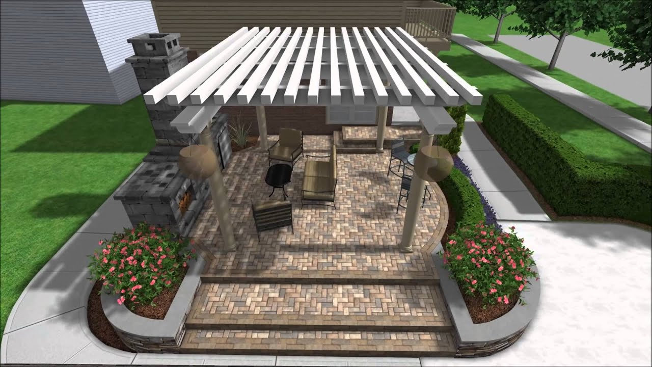Landscape design 3d walkthrough raised patio outdoor for Fireplace on raised deck