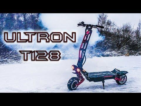 Электросамокат Ultron T128 Буксирует АВТО честный обзор ультрон т128 тест драйв зимой Giroskutershop