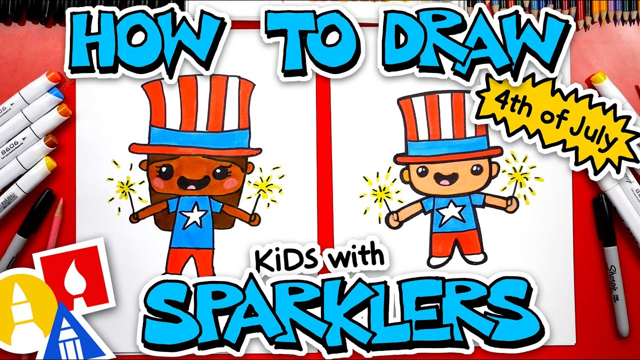 🇺🇸 How To Draw Kids With Sparklers For Independence Day (4th of July)