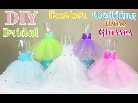 Dollar Tree DIY Easter Wedding Bridal Party Wine Glasses 2019