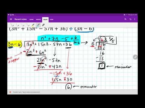 Algebra 2 Dividing Polynomials (Long Division) 3.3