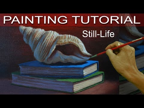 Still Life Painting Tutorial with Seashell and Books in Step by Step Acrylic Lesson by JM Lisondra