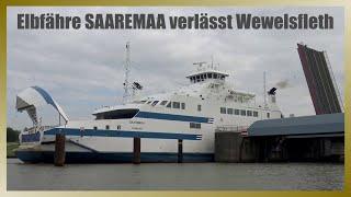 Ehemalige Elbfähre SAAREMAA verlässt Wewelsfleth // Passage Störsperrwerk
