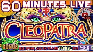🔴60 MINUTES LIVE ★ CLEOPATRA 1 & 2 ★ PLAY from the SLOT MUSEUM