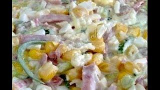 Рецепты салатов  Салат с колбасой и сухариками