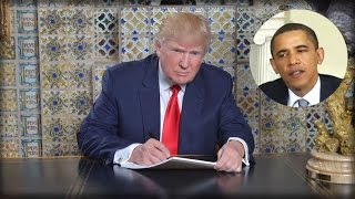 TRUMP EXECUTES HIS SECRET PLAN TO END ALL OF OBAMA'S EXECUTIVE ORDERS RIGHT AFTER SWEARING IN!