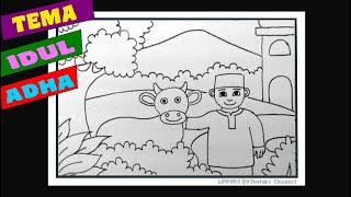 Cara Menggambar Tema Hari Raya Idul Adha Hari Raya Kurban Youtube
