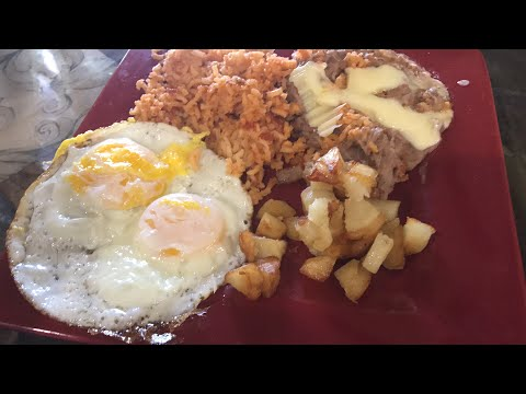 ⚠️HEARTY MUKBANG | BREAKFAST FEAST | FRIED EGGS | REFRIED BEANS AND CHEESE | FRIED POTATOES |