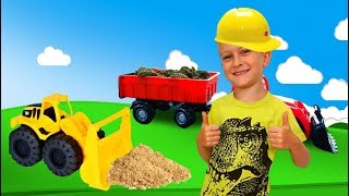 Tawaki kids pretend play with a tractor in the playground