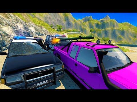 POLICE CHASE VS HIGH POWERED GUN TRUCKS! - BeamNG Drive Crash Test Compilation Gameplay