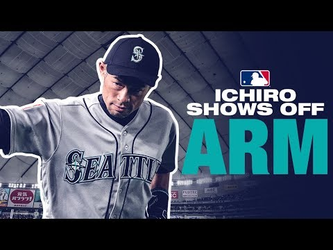 Ichiro shows off CANNON from Japan exhibition game