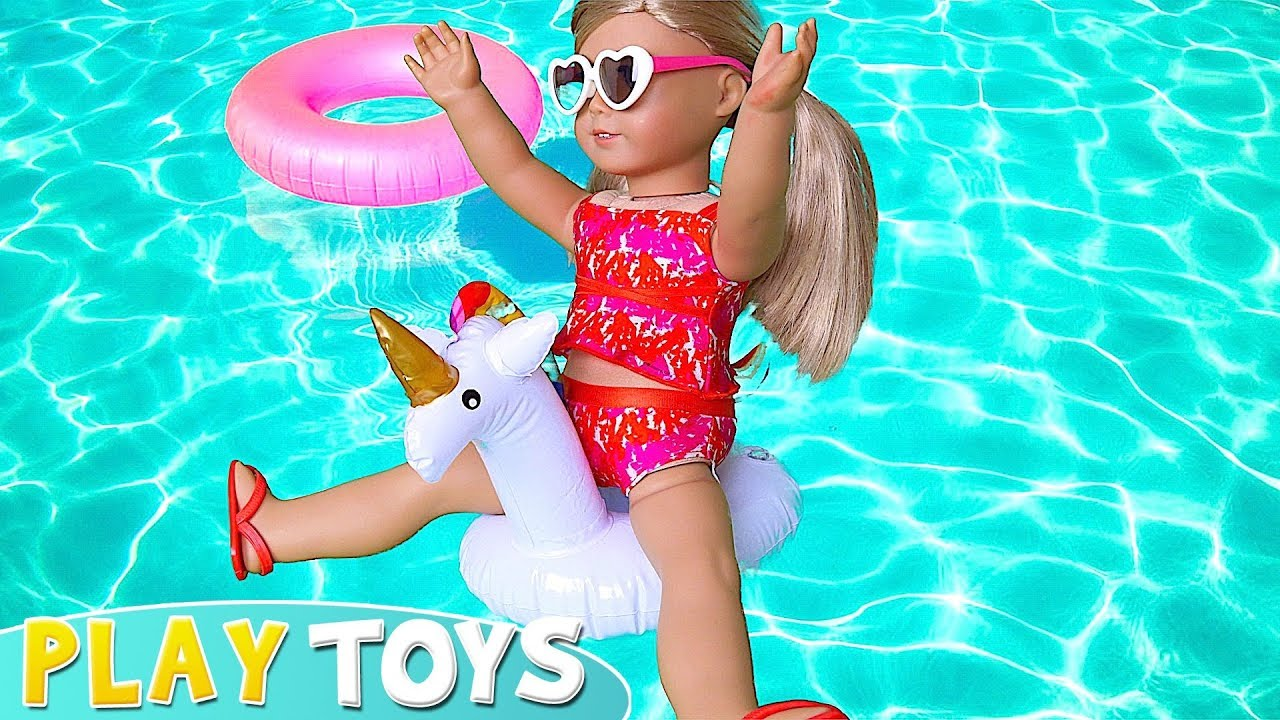 d77114efd2c7 American Girl Baby Doll Summer Beach Dress up Toys! 🎀 - YouTube