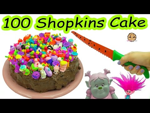 Trolls Poppy & Bridget Bergen Bake Chocolate Cake with 100 Season 7 Shopkins On Top