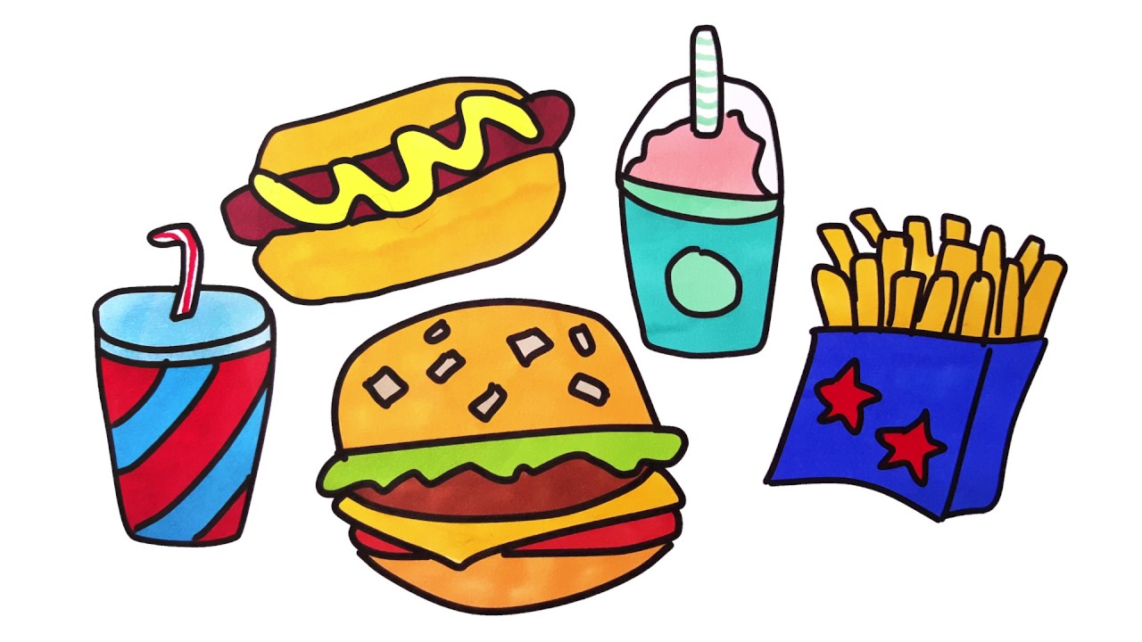 coloring pages fast food for kids drawing hamburger hot dog french fries coloring with markers