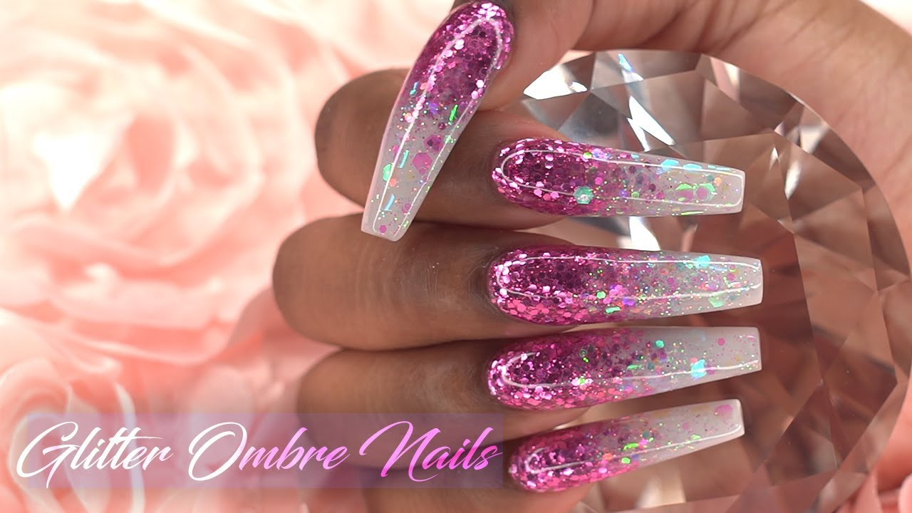 Acrylic Nails Pink Glitter Ombre Refill and Redesign ...