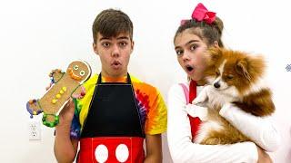 Nastya und Artem machen Kekse für ihren Marty
