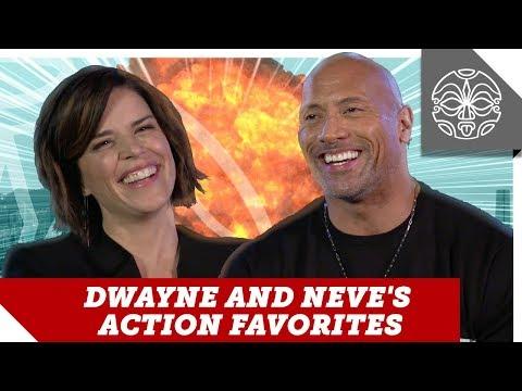 Skyscraper Stars Dwayne Johnson & Neve Campbell Talk Action Movies