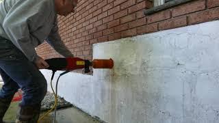 """Drilling 4"""" Hole in concrete foundation Using Hilti DD 150-U Drill and core bit"""