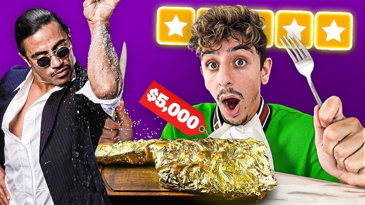 Eating at CELEBRITY Restaurants for 24 Hours! (24K Gold Steak)