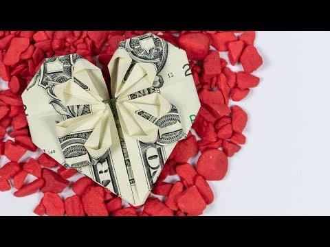 Dollar origami HEART with star ❤️ money heart folding instructions