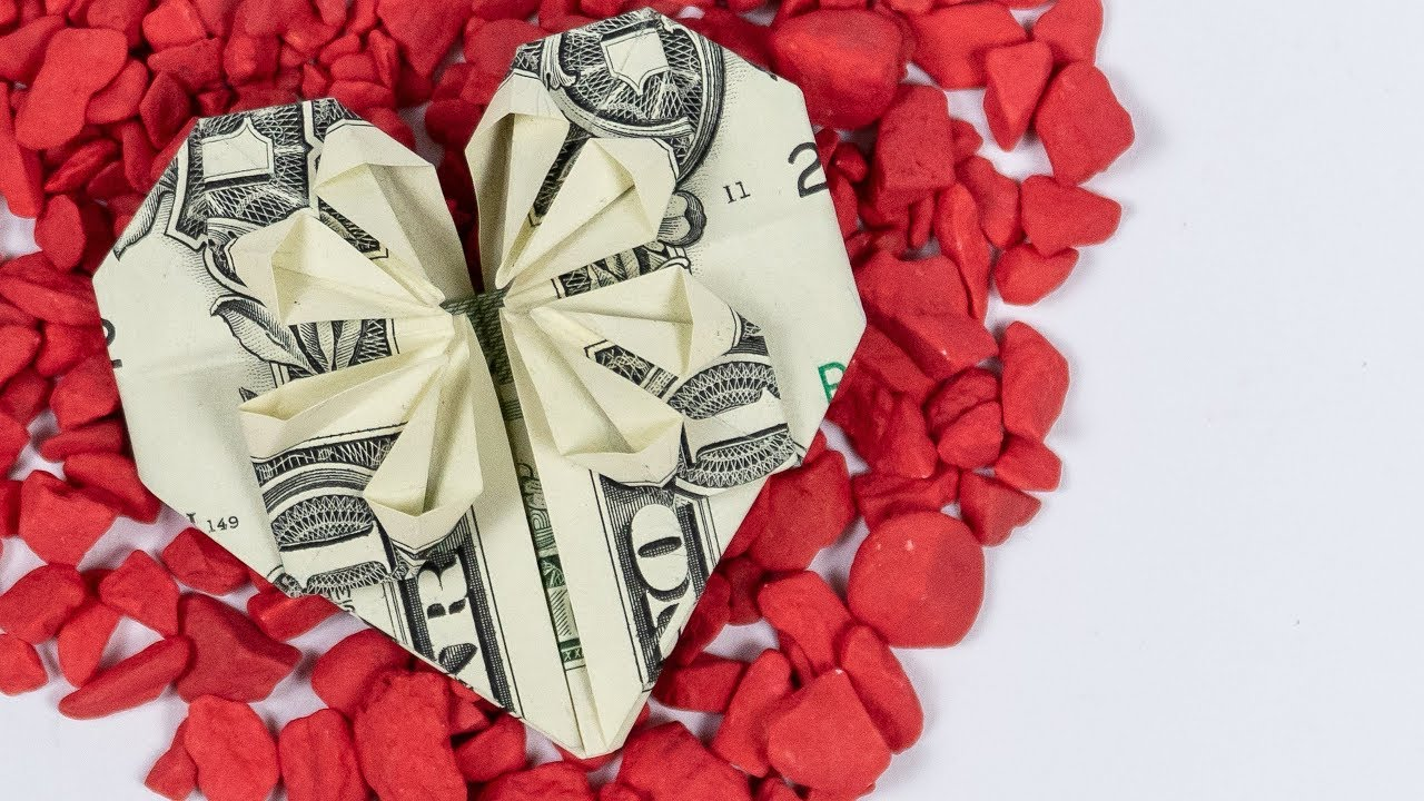 Heart dollar bill origami making a heart out of money heart dollar bill origami making a heart out of money instructions with star jeuxipadfo Images