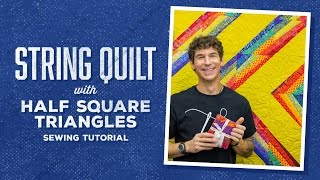make a half square triangle string quilt with rob