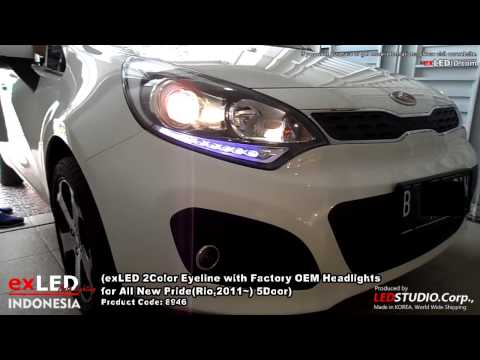 exLED 2Color Eyeline with Factory OEM Headlights for All New Pride(Rio,2011~) 5Door,White 7,000K