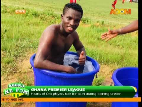 Hearts of Oak players take ice bath during training session