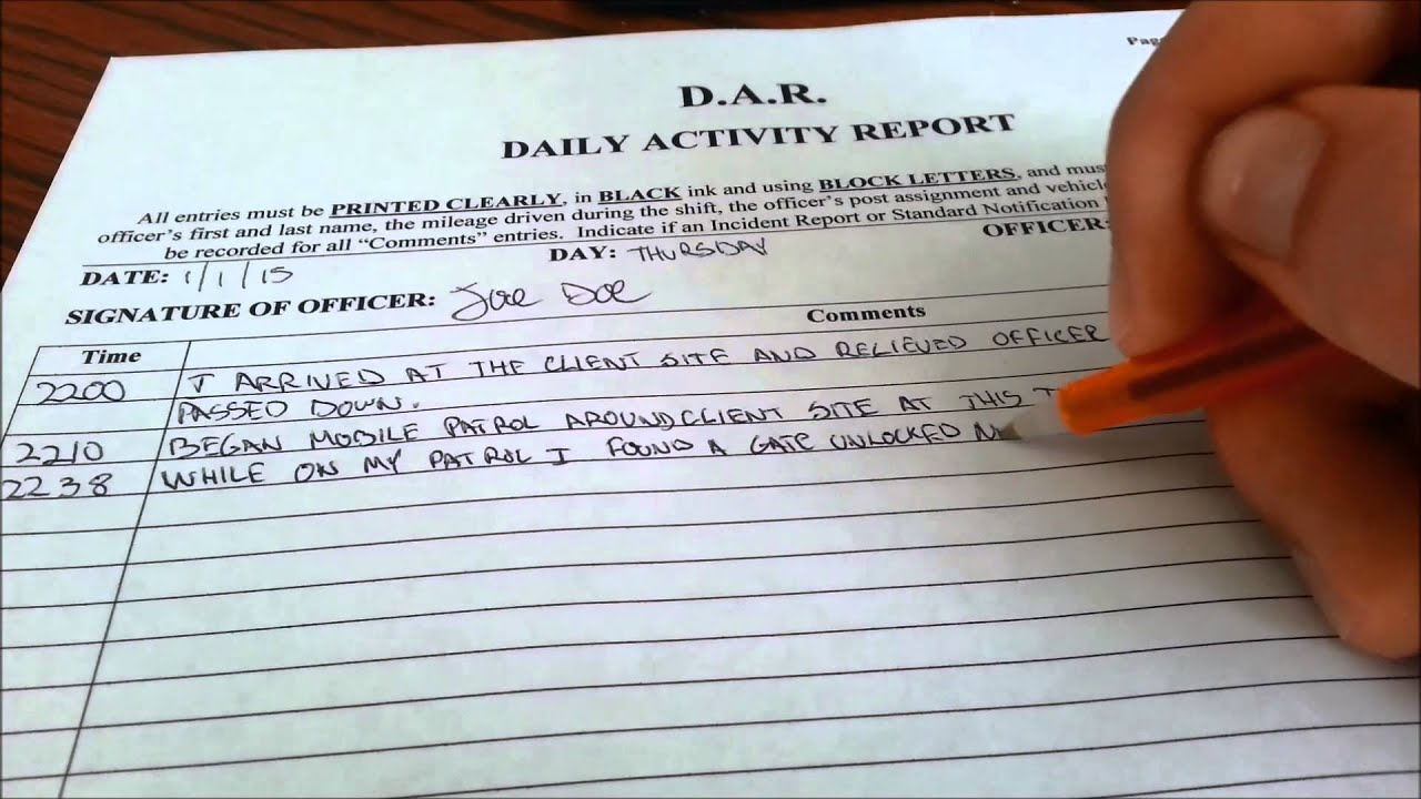 Security Guard Daily Report Sample