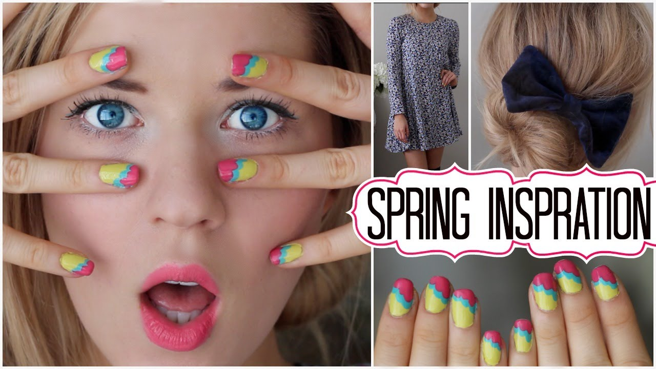 ✿ Spring Inspiration: Hair, Makeup, Outfit & Nail Tutorial ✿ - YouTube