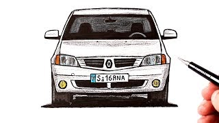 How to draw a Renault Logan car