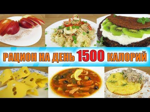Рацион на день 1500 калорий 👍 Готовое меню для похудения
