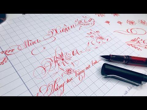 Luyện chữ Online  Bài luyện Trang Trí Cơ Bản Bằng Bút Lá Tre Đơn Giản