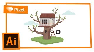 Рисуем домик на дереве в Adobe Illustrator | уроки для новичков