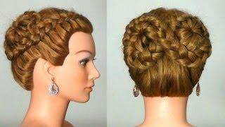 Прическа с плетением на длинные волосы. Hairstyle for every day