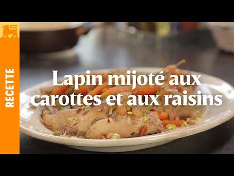 Lapin mijoté aux carottes et aux raisins secs