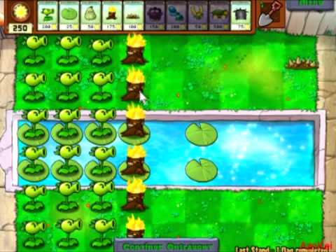 Plants Vs. Zombies - Last Stand (5 plants only, no upgrades) (commentary)